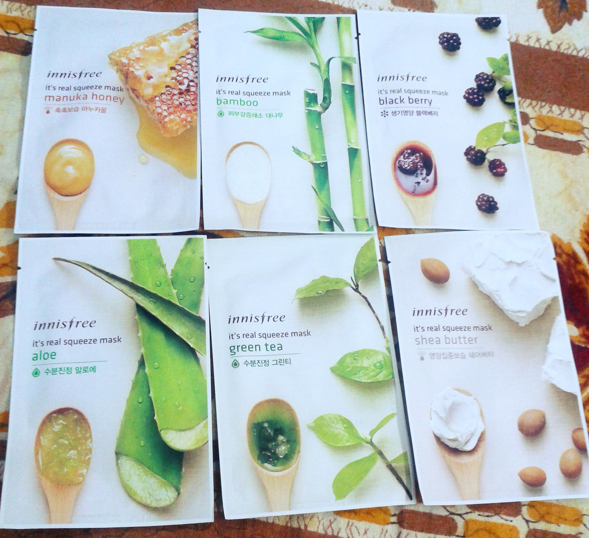 Innisfree Haul Beautifully Me Real Squeeze Mask Black Berry Green Barley Cleanser